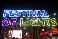 The lettering 'Festival of Lights' is pictured on 11 October 2011 in Berlin, Germany. From 12 to 23 October 2011 the festival will transform the capital into a glowing and glittering place again. Photo: XAMAX